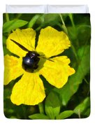 Bumblebee On Flower Duvet Cover