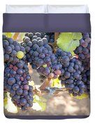 Bunches Of Red Wine Grapes Duvet Cover