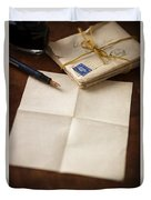 Bundle Of Vintage Letters With Fountain Pen Duvet Cover