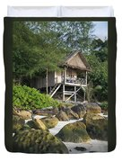 Bungalow In Koh Rong Island Beach In Cambodia Duvet Cover