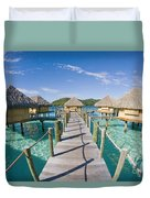 Bungalows Over Ocean Duvet Cover