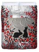 Bunnies In Blossom Duvet Cover