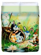 Bunnies Log And Frog Duvet Cover
