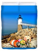 Buoys At The Headlight Duvet Cover