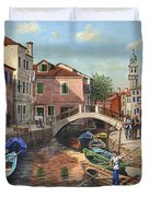 Burano Canal Venice Duvet Cover