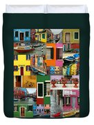 Burano Italy Collage Duvet Cover