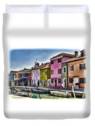 Burano Italy - Colorful Homes Duvet Cover
