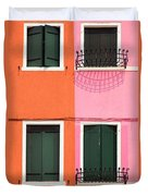 Burano Pink And Orange Duvet Cover
