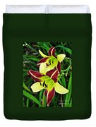 Burgundy And Yellow Lilies 2 Duvet Cover