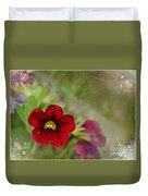Burgundy Calibrochoa Blank Greeting Card II Duvet Cover