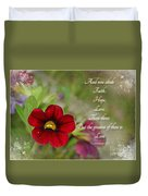 Burgundy Calibrochoa Greeting Card With Verse Duvet Cover