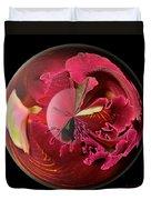 Burgundy Orchids In A Glass Globe Duvet Cover