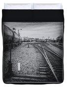 Burlington Vermont Train Yard Vintage Grunge Black And White Duvet Cover