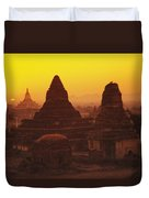 Burma Myanmar, Bagan, Temples At Sunset Duvet Cover by Richard Maschmeyer