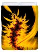 Burning Fractal Fire Warm Orange Flames Black Background Duvet Cover