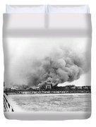 Burning Of The Breakers Hotel Duvet Cover
