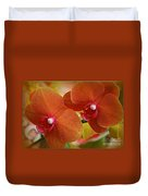 Burnt Orange Orchids Duvet Cover