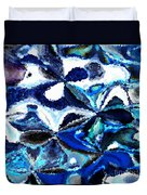 Bursts Of Blue And White - Abstract Art Duvet Cover by Carol Groenen