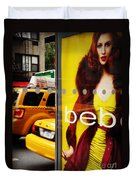 Bus Poster With Taxis - New York Duvet Cover