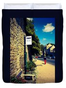 Bus Stop Sign Duvet Cover