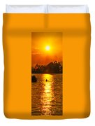 Bushfire Sunset Over The Lake Duvet Cover