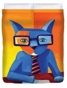Business Cat Duvet Cover by Mike Lawrence