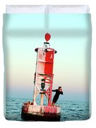 Business Woman On A Buoy Duvet Cover
