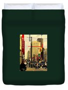 Busy Downtown Toronto Morning Cross Walk Traffic City Scape Paintings Canadian Art Carole Spandau Duvet Cover