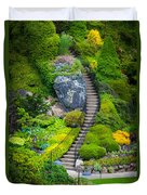 Butchart Gardens Stairs Duvet Cover
