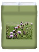 Butterflies And Bull Thistle Wildflowers Duvet Cover