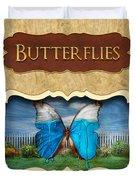 Butterflies Button Duvet Cover