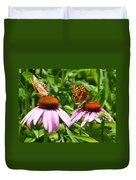 Butterflies On Echinacea Flowers Duvet Cover