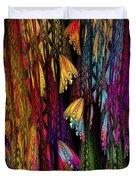 Butterflies On The Curtain Duvet Cover