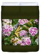 Butterfly And Blooms - Spring Flowers And Tiger Swallowtail Butterfly. Duvet Cover