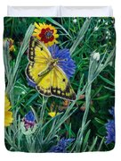 Butterfly And Wildflowers Spring Floral Garden Floral In Green And Yellow - Square Format Image Duvet Cover