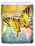 Butterfly Blue Glass Jar Duvet Cover