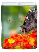 Butterfly Hanging Out On Wildflowers Duvet Cover