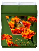 Butterfly In A Sea Of Orange Floral 02 Duvet Cover