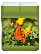 Butterfly In The Glades - Gulf Fritillary Duvet Cover