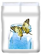 Butterfly On A Blue Jar Duvet Cover by Bob Orsillo