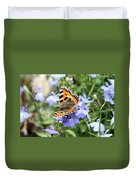 Butterfly On Blue Flower Duvet Cover
