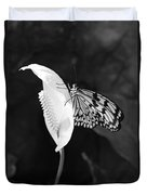 Butterfly On Peace Lilly Duvet Cover