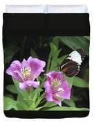 Butterfly On Pink Lillies Duvet Cover