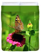 Butterfly On Zinnia Flower 2 Duvet Cover