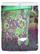 Butterfly Park Garden Painted Green Theme Duvet Cover