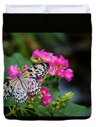 Butterfly Pollinating Flower Duvet Cover