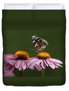 Butterfly Red Admiral On Echinacea Duvet Cover