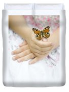Butterfly Resting On A Girls Hand Duvet Cover