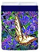 Butterfly With Purple Flowers 2 Duvet Cover