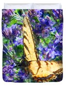 Butterfly With Purple Flowers 3 Duvet Cover